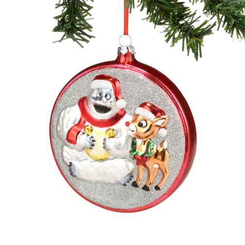 Bumble and Rudolph Glass Ornament